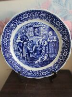 Delft Boch Freres Belgium  Blue Handpainted Charger Plate Tavern Scene 13 3/4
