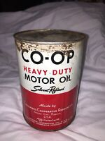 Vintage CO-OP Heavy Duty Solvent Refined Motor Oil Full 1 QT Can Rare w/Patina