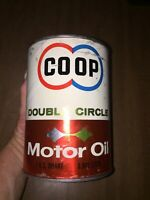 Rare Vintage Co-op Double Circle Composite Full  Motor Oil 1 Qt Can GC