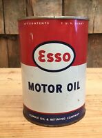 Vintage ESSO Motor Oil Humble Oil Co. 1 Quart Tin Can Gas Service Station Sign