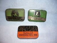 3 Vintage ART DECO Tin Household Nail Boxes empty & made in USA and belmont free