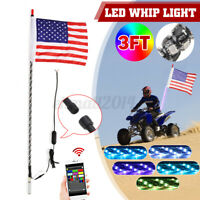 3FT RGB Spiral LED Whip Antenna Lighted w/ Flag bluetooth APP for OFF Road ATV