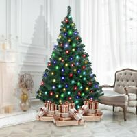 4/5/6/7FT Pre-Lit Artificial PVC Christmas Tree with LED Light &Stand Xmas Decor