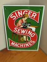 singer sewing machine sign  porcelain sign AMZING CONDITION