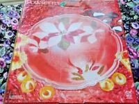Christmas NEW Anglo Platter Embossed With Colorful Poinsettia 13