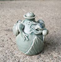 Wonderful Studio Pottery Oil Lamp With Applied Frogs Signed EW Mystery Artist
