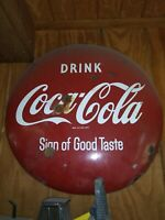 Original Large 1950's Coca Cola Button Enameled Sign 24 inch