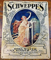 SCHWEPPES SODA WATER DRY GINGER ALE PROSET HEAVY DUTY METAL ADVERTISING SIGN