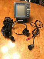 Lowrance X51 Sonar Fish Finder Complete w/ trolling motor puck mount transducer