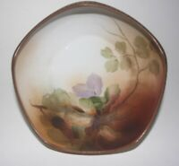 Antique Porcelain Hand Painted Nippon Nut Dish Bowl 5 Sided Beaded Edge Footed