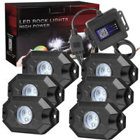 RGB LED Rock Light Wireless Bluetooth Music Multi-Color Pickup ATV Offroad 6-Pod