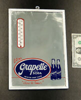 rare GRAPETTE Vintage 1940s SODA Fountain THERMOMETER Mirror SIGN Bottles