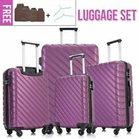 4Pcs Travel Luggage Set Hardside Spinner Suitcase ABS Trolley Dust Cover Purple