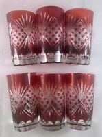Gorgeous Set of 6 Vintage Bohemian / Czech Ruby Cut to Clear Glasses