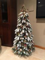 Hand Decorated Artificial Pre Lit Frosted/Flocked Christmas Tree. 4 1/2 Ft Tall