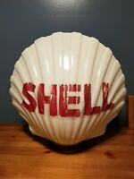 VTG ANTIQUE ORIGINAL 1930's-1940's SHELL GASOLINE CAST MILK GLASS GAS PUMP GLOBE