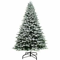 7ft Premium Snow Flocked Hinged Artificial Christmas Tree Unlit w/ Metal Stand