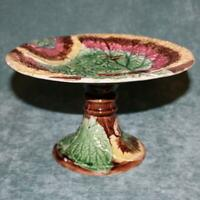 Antique Majolica Compote with Overlapping Begonia Leaves