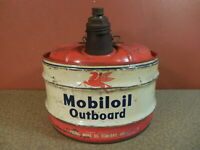 Vintage MOBILOIL Outboard Mobil Oil Co. 2 1/2 Gallon Gas Can NICE
