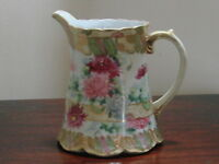 ANTIQUE GORGEOUS HAND PAINTED AND GILDED NIPPON PITCHER.