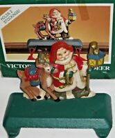 Midwest Christmas Stocking hanger holder Victorian Santa with Deer Cast Iron
