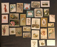 Lot Of Antique Victorian 1880s Christmas & New Years, Easter Cards, Mixed 28 Pcs