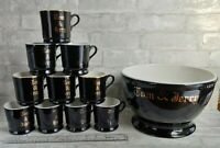 11 Pc Vintage HALL POTTERY Black Gold TOM & JERRY Egg Nog Punch Bowl & Cups Set