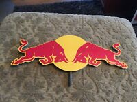 Red Bull Metal Sign With On Both Sides Being The Same 12 X 4.5 Inches Nice Piece