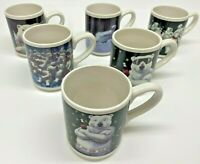 Vtg Gibson 1996 Set of 6 Coca Cola Coke Polar Bear Coffee Tea Cup Mugs Holiday