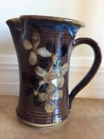 Signed Studio Pottery Pitcher Handmade Hand Painted Muted Flowers Floral Rustic