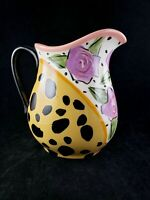 Droll Designs Hand Painted Jug Pitcher Roses and Leoperd Print