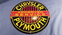 VINTAGE CHRYSLER PLYMOUTH AUTOMOBILE PORCELAIN SERVICE PUMP PLATE AD METAL SIGN