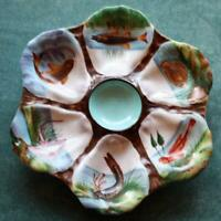 Antique Oyster Plate, 6 Different Hand Painted Fish in Wells