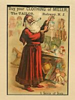Vintage 1880's Trade Card With Christmas Santa in Toy Workshop Matted- Rahway NJ