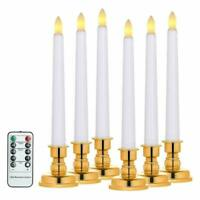 6 Packs Led Flickering Flameless Window Candles W/Remote Timers Battery Operated