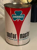 FULL Vintage SHAMROCK MOTOR MASTER Metal Oil Can 1 Quart