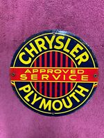 Vintage Chrysler Plymouth Approved Service Reproduction Porcelain Dealership 12""