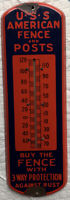 ANTIQUE USS AMERICAN COUNTRY HARDWARE FENCE POST PORCELAIN THERMOMETER ART SIGN