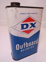 Original vintage FULL unopened DX OUTBOARD MOTOR OIL metal can