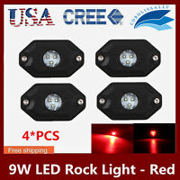 Red 4X9W LED Rock Light Vehicle UTV Offroad ATV Car 4X4WD Decorative Deck Light