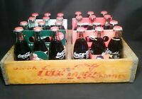 Vintage Lot Of 24 Glass 8oz Coke Bottles In Holders and Wood Crate