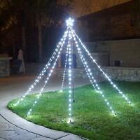 Waterfall Christmas Tree Lights with Star Indoor Outdoor String Cone Tree Curtai