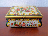 Vintage Metal Tin Box Hinged Lid Floral Made in Holland Candy Jewelry Stash