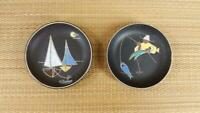 Small Mid Century Ruscha Keramik German Art Pottery Pair - Wall Plates, 3-3/4