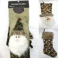 Camo Treeskirt & 2 Stockings Christmas Tree Hunting Rustic Santa, Moose, Snowman