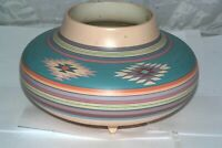 Southwest Pottery signed Hand Painted Bowl Vase Vessel Footed Vintage