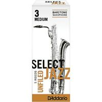 D'Addario Woodwinds Slct Jazz Unfiled Baritone Sax Reeds Strength 3 Med Box of 5