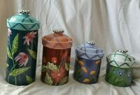 Canister Set Droll Designs 4 Piece Canister  Flower Garden Rare Handcrafted USA
