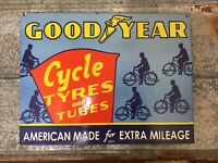 Goodyear cycle Tyres Tires Porcelain Gas Oil Garage Bicycle Sign
