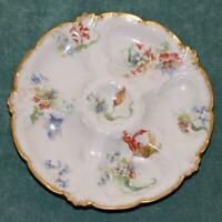 Antique French Limoges Oyster Plate by Gerard, Dufraisseix, Abbot, Parrot Tulips